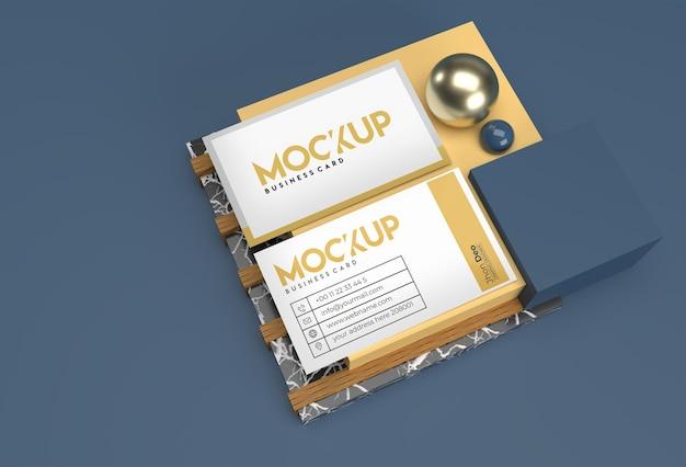 3d render stack business cards mockup design.