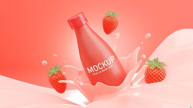 3d render of strawberry milk bottle with splash for mockup branding Premium Psd