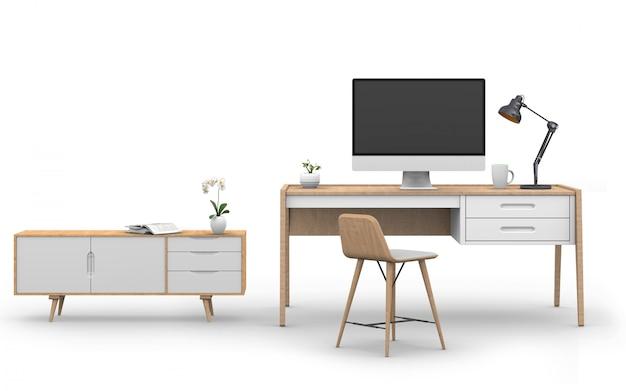 3d render of studio computer with desk, sideboard Premium Psd