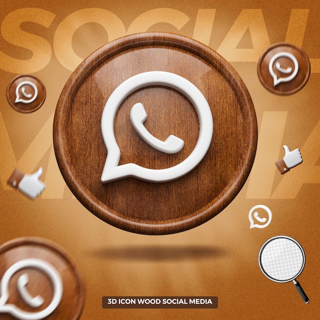 3d render whatsapp icon on front wooden circle Premium Psd