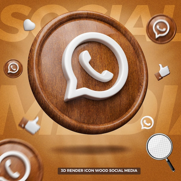 3d render whatsapp icon on left wooden circle Premium Psd