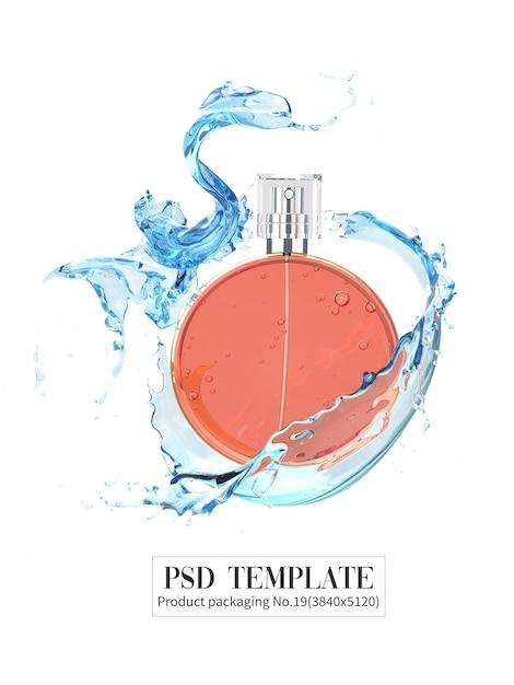 白い背景の上の水のしぶきとオレンジ色の香水3d render Premium Psd