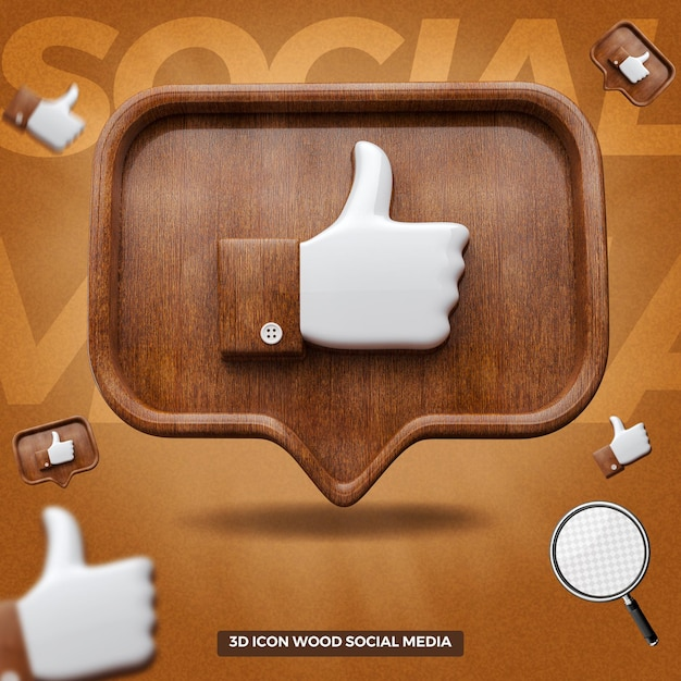 3d rendered like facebook icon in front wooden balloon message Premium Psd