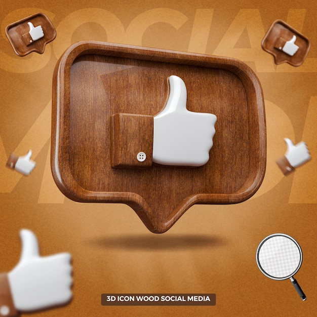3d rendered like facebook icon in left wooden balloon message Premium Psd