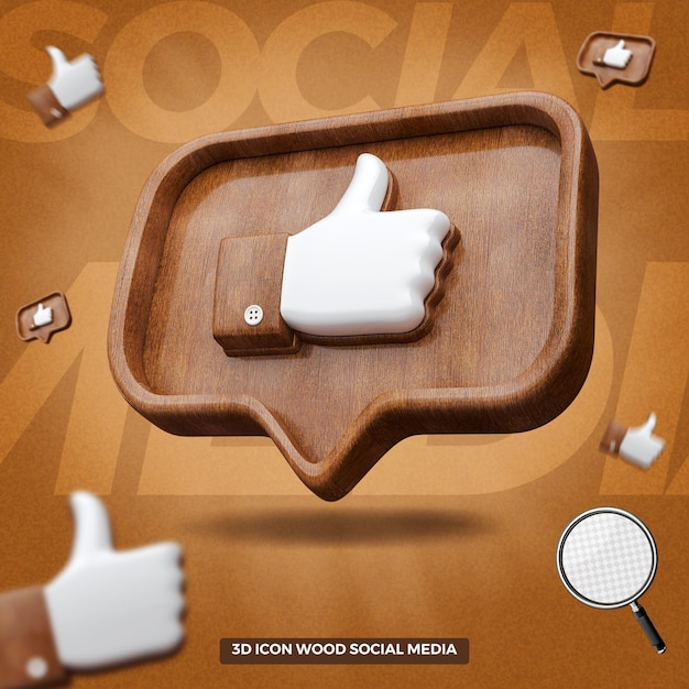 3d rendered like facebook icon in right wooden balloon message Premium Psd