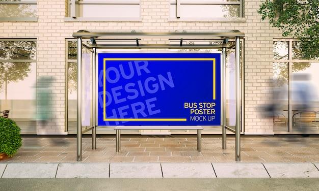 3d rendering big poster on bus stop Premium Psd