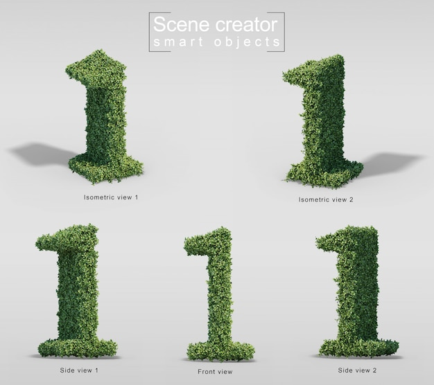 3d rendering of bushes in shape of number 1 Premium Psd