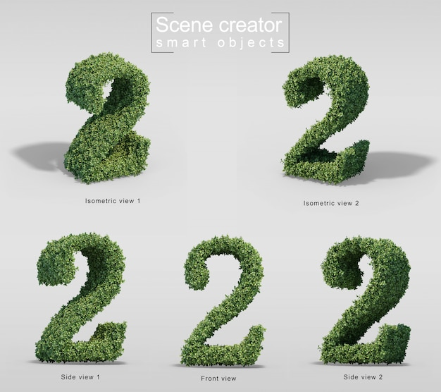 3d rendering of bushes in shape of number 2 Premium Psd