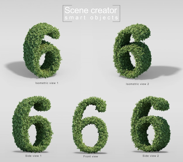 3d rendering of bushes in shape of number 6 Premium Psd