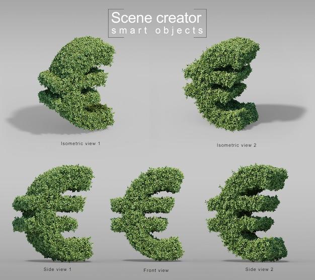 3d rendering of buxus  euro money symbol Premium Psd
