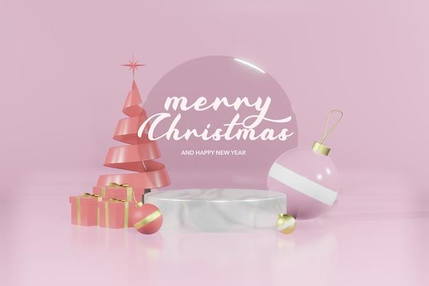 クリスマスの空の表彰台のモックアップを3dレンダリング Premium Psd