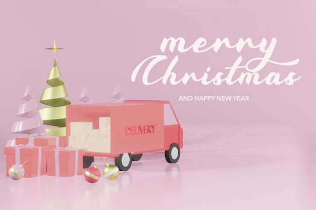 3dレンダリングクリスマス表彰台モックアップオンラインショッピング Premium Psd