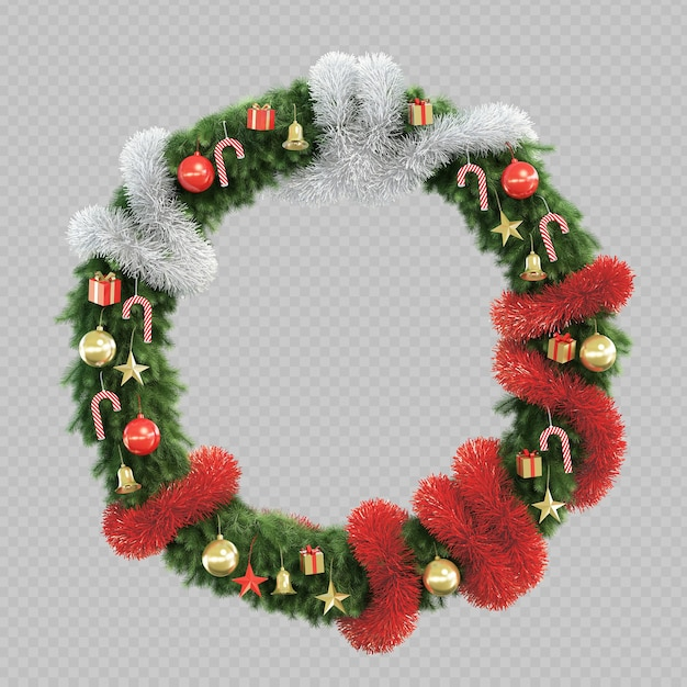 3d rendering of christmas tree circle frame Premium Psd