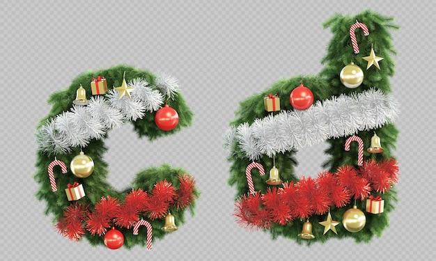 3d rendering of christmas tree letter c and letter d Premium Psd