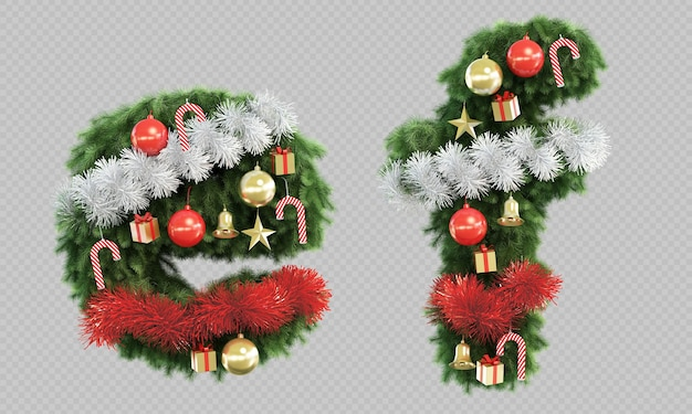 3d rendering of christmas tree letter e and letter f Premium Psd