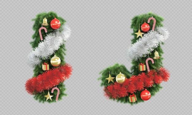 3d rendering of christmas tree letter i and letter j Premium Psd
