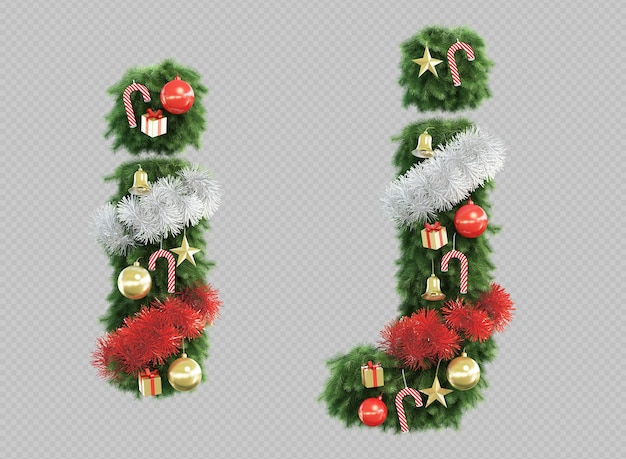 3d rendering of christmas tree letter i and letter j Premium Psd