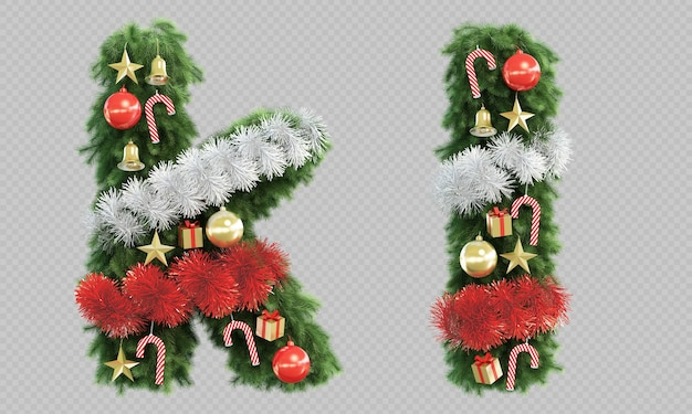 3d rendering of christmas tree letter k and letter l Premium Psd