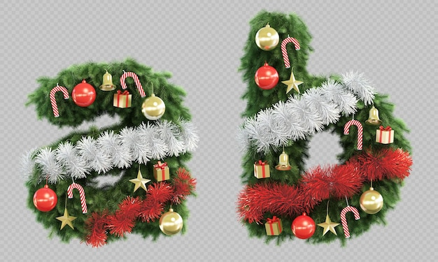 3d rendering of christmas tree letter a and letter b Premium Psd