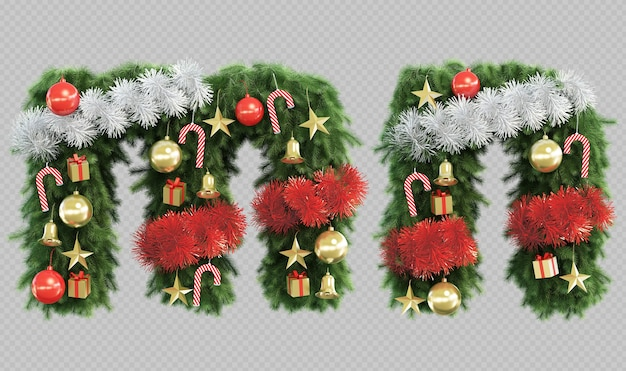 3d rendering of christmas tree letter m and letter n Premium Psd