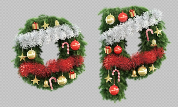 3d rendering of christmas tree letter o and letter p Premium Psd