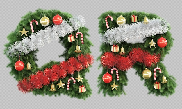 3d rendering of christmas tree letter q and letter r Premium Psd