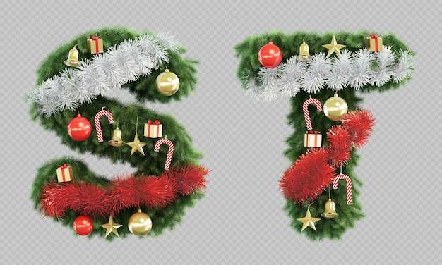 3d rendering of christmas tree letter s and letter t Premium Psd