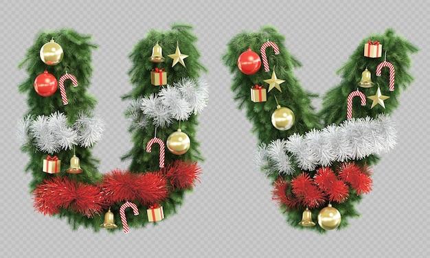 3d rendering of christmas tree letter u and letter v Premium Psd