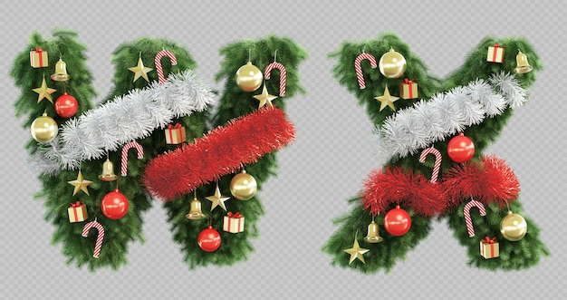 3d rendering of christmas tree letter w and letter x Premium Psd
