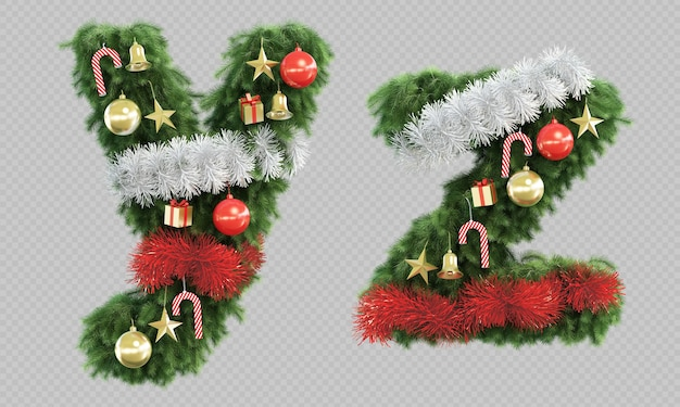 3d rendering of christmas tree letter y and letter z Premium Psd