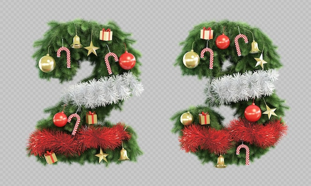 3d rendering of christmas tree number 2 and number 3 Premium Psd