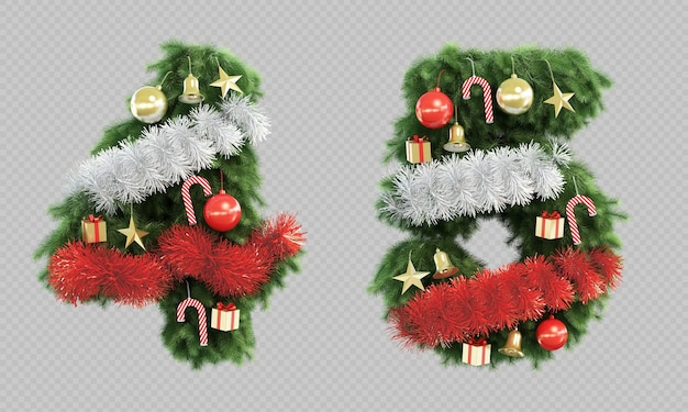 3d rendering of christmas tree number 4 and number 5 Premium Psd