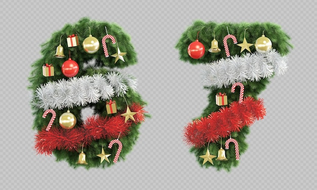 3d rendering of christmas tree number 6 and number 7 Premium Psd
