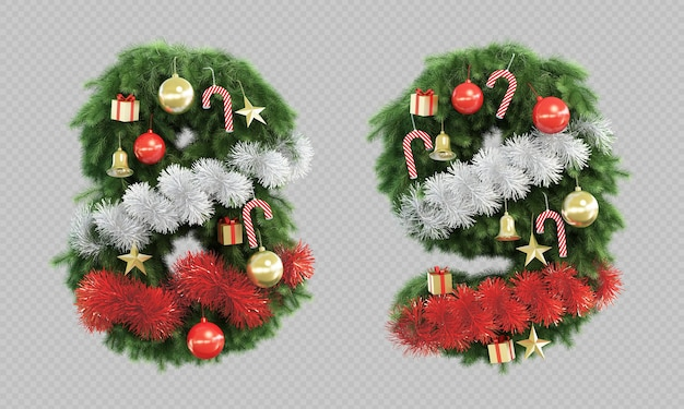 3d rendering of christmas tree number 8 and number 9 Premium Psd