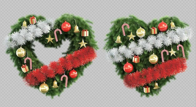 3d rendering of christmas tree in shape of heart Premium Psd