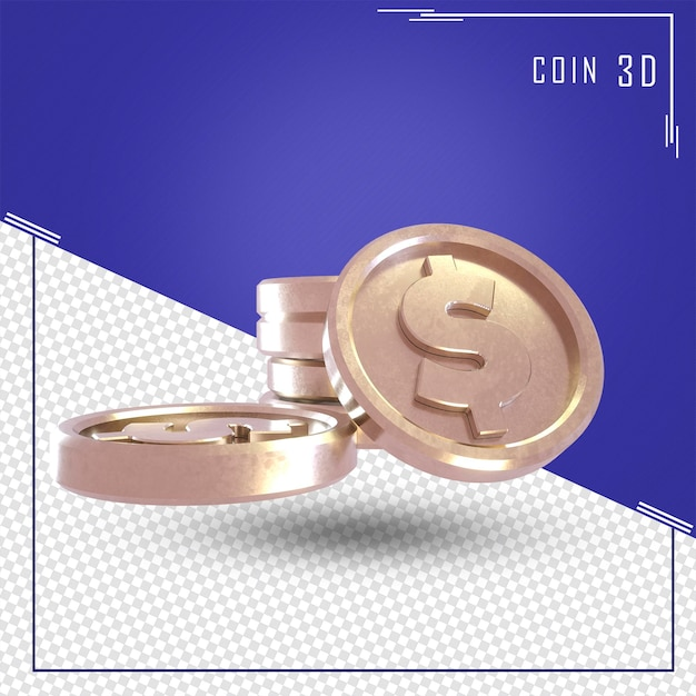 3d rendering of coin with dollar icon isolated Premium Psd