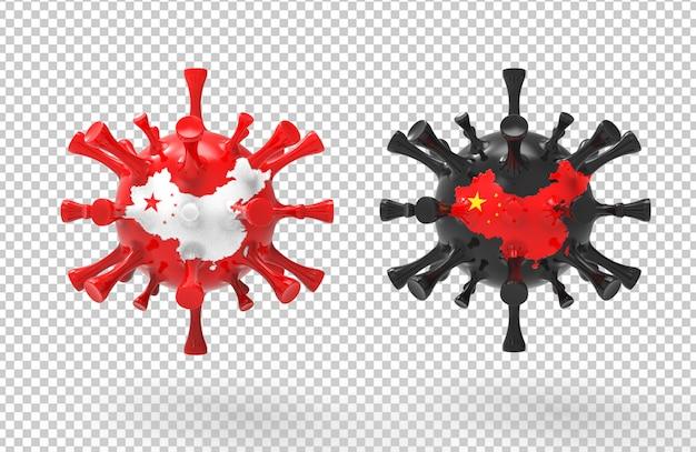 3d rendering corona virus with textured map of china Premium Psd