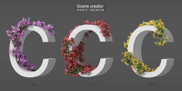 3d rendering of creeping bougainvillea on alphabet c Premium Psd