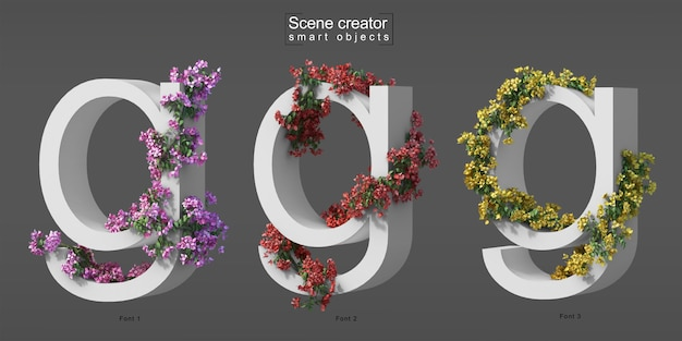 3d rendering of creeping bougainvillea on alphabet g Premium Psd
