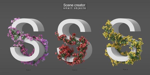 3d rendering of creeping bougainvillea on alphabet s Premium Psd