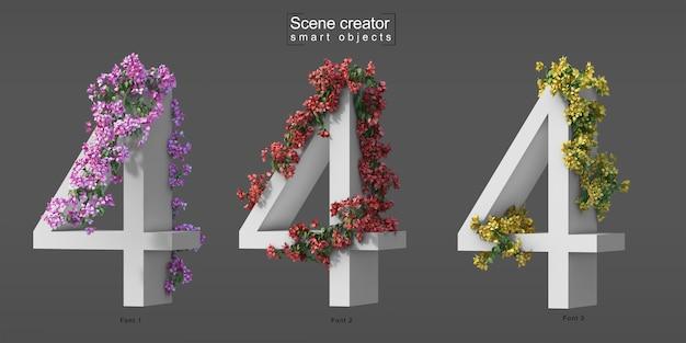 3d rendering of creeping bougainvillea on number 4 Premium Psd
