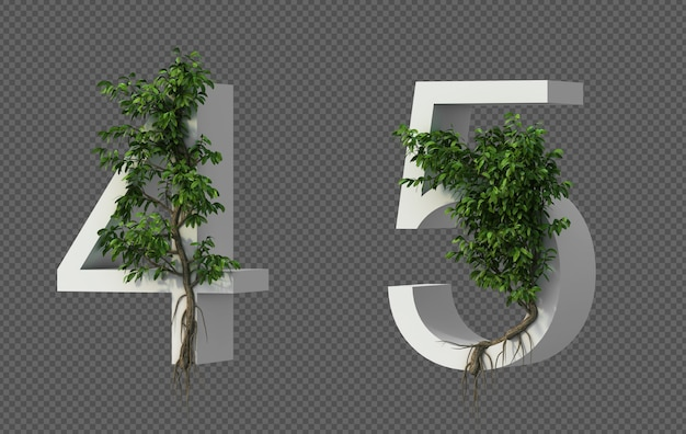 3d rendering of creeping tree on number 4 and number 5 Premium Psd