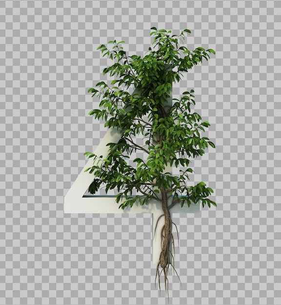 3d rendering of creeping tree on number 4 Premium Psd
