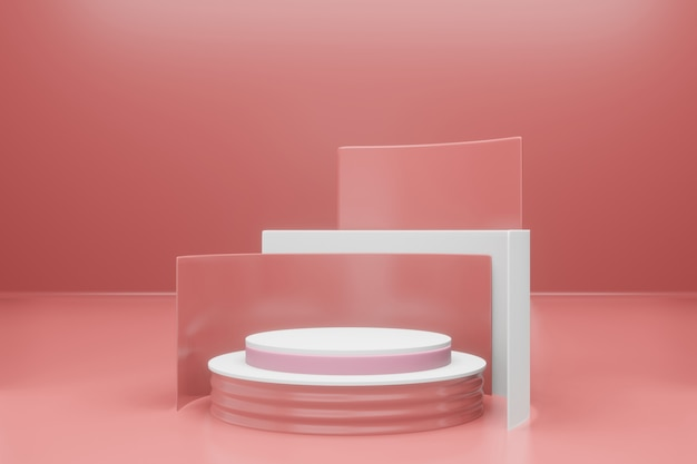 3d-рендеринг макета пустого подиума Premium Psd