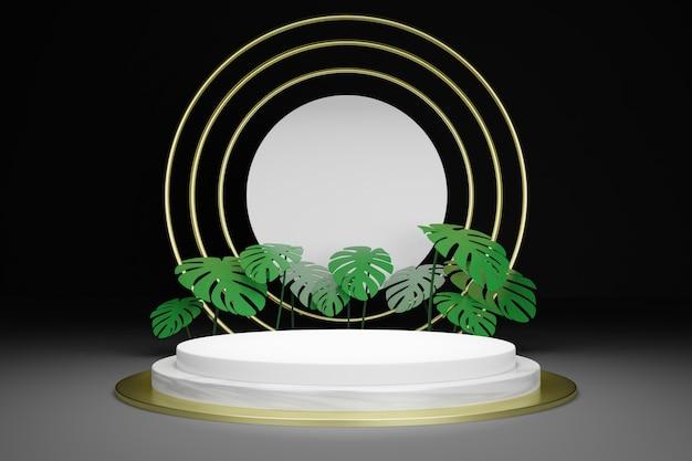 3d рендеринг пустой подиум с тропическими листьями Premium Psd