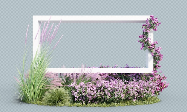 3d rendering of flowering plants with white frame Premium Psd
