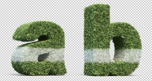 3d rendering of grass playing field alphabet a and alphabet b Premium Psd