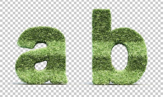 3d rendering of grass playing field alphabet a and alphabet b Premium Psd