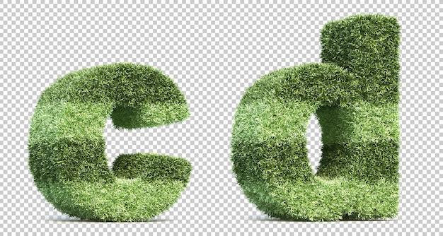 3d rendering of grass playing field alphabet c and alphabet d Premium Psd
