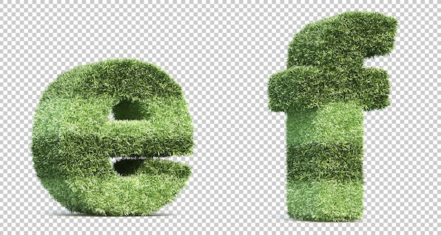 3d rendering of grass playing field alphabet e and alphabet f Premium Psd